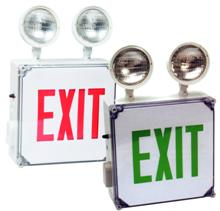 Wet Location LED Exit Combo Unit Wet Location LED Exit Combo Unit features Wet Location Exit Sign Enclosure is resistant to corrosive atmospheres, non-hazardous dust environments, water spray or splashing water Perfect for Outdoor Commercial & Industrial Facilities where exposure to Rain is normally a major Lighting Fixture problem