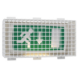 Emergency Lighting Protection Cage protects Emergency Light Exit Sign against damage and vandalism