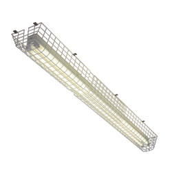 This cage is constructed of super tough, steel wire with corrosion resistant polyester coating. It helps protect fluorescent lights against vandalism and accidental damage.