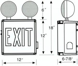 Wet Location LED Exit Sign Emergency Light Combo Unit Dimension Size