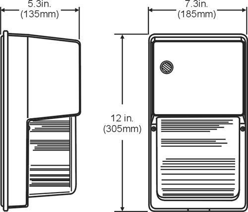 Mini Wall Pack Light Glass Lens spec